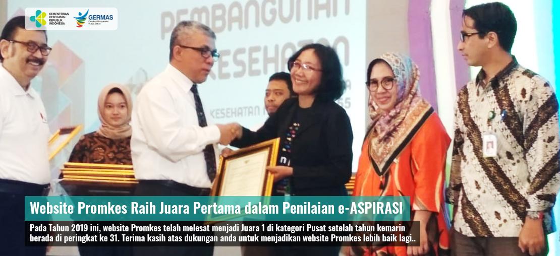 Slide_Website Promkes Menjadi Juara Pertama dalam Penilaian e-ASPIRASI 2019